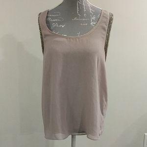 Costa Blanca sleeveless sheer beaded blouse